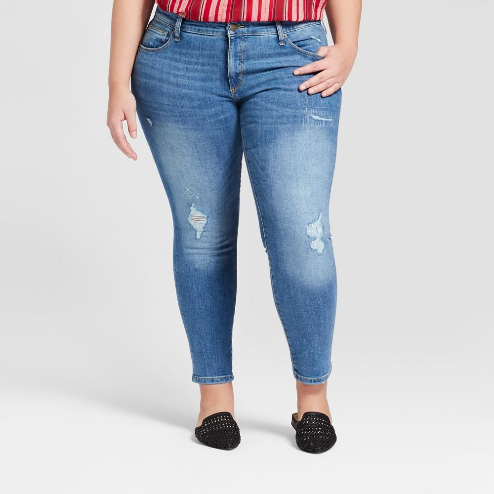 Women's Plus Size Destructed Skinny Jeans - Universal Thread Light Wash 22W Short, Blue