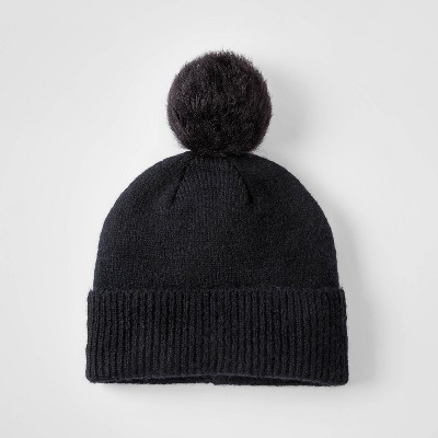 Girls' Pom Hat - Cat & Jack™ Black