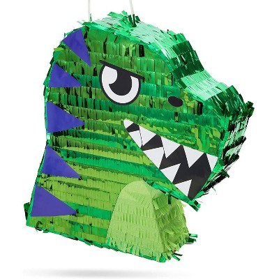 Scary T-Rex Dinosaur Pinata for Kids Boys Dino Theme Baby Shower, Birthday Party Supplies and Decorations, Small 12.9 x 11 inches