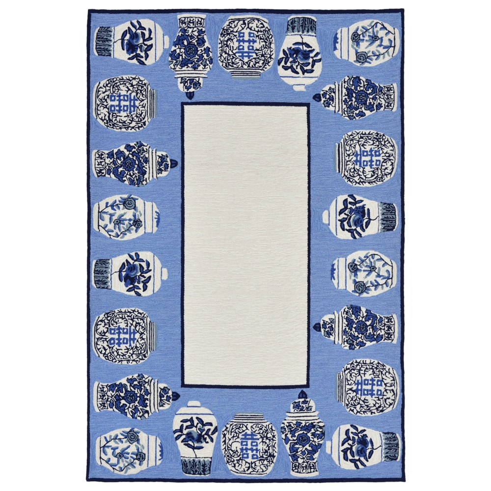 5' Shapes Area Rug Gray - Liora Manne, Gray Blue