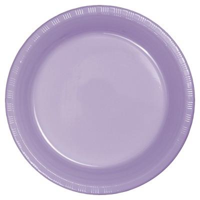 "Luscious Lavender Purple Plastic 7"" Dessert Plates - 20ct"
