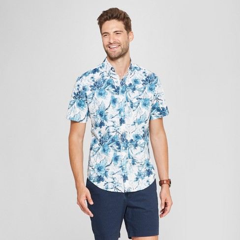 Men's Short Sleeve Soft Wash Slim Fit Button-Down Shirt - Goodfellow & Co™ Aqua Dip - image 1 of 3