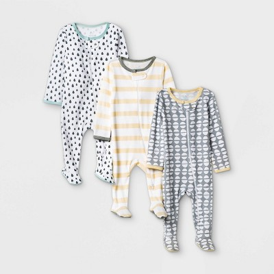 Baby 3pk Dotted Sleep N' Play - Cloud Island™ Yellow/Gray 0-3M