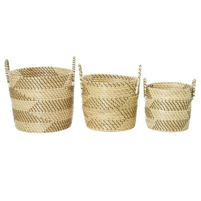 "Olivia & May 19""x17""x14"" Set of 3 Large Bucket Seagrass Baskets Black/White"