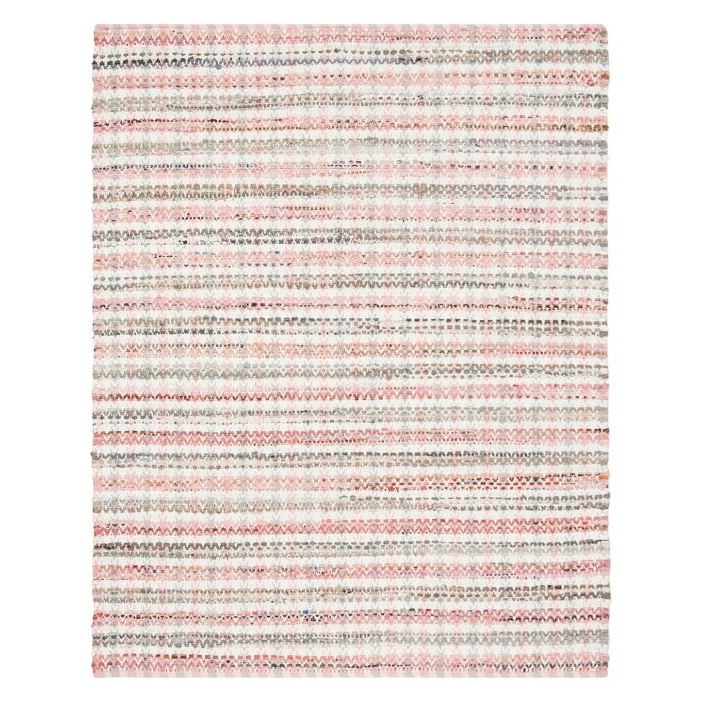 8'X10' Stripe Woven Area Rug Pink - Safavieh, Pink/Multi-Colored