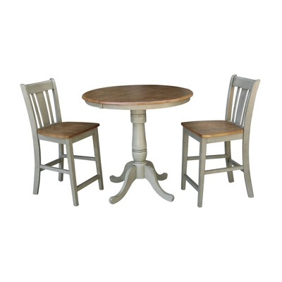 """36"""" 2pc Carolyn Round  Extendable Dining Table with San Remo Counter Height Bar Stools Hickory Brown - International Concepts"""