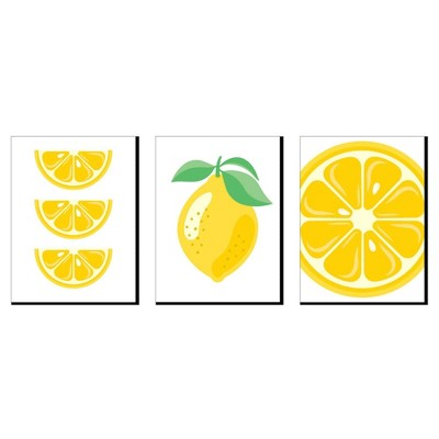 Big Dot of Happiness So Fresh - Lemon - Citrus Lemonade Kitchen Wall Art, Nursery Decor and Restaurant Decorations - 7.5 x 10 inches - Set of 3 Prints