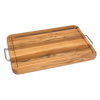 Lipper International 12 X19.25  Teak Carving Board with Metal Handles