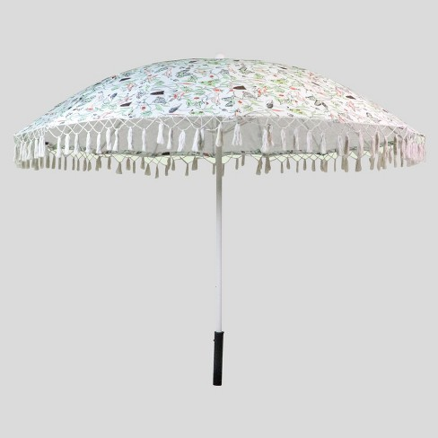 9' Birds & Butterflies Balinese Patio Umbrella - White Pole - Opalhouse™ - image 1 of 2