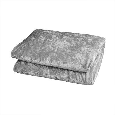 """50""""x70"""" Oversize Crushed Velvet Reversible to Shiny Velvet Throw Gray - Adorn & Decor"""