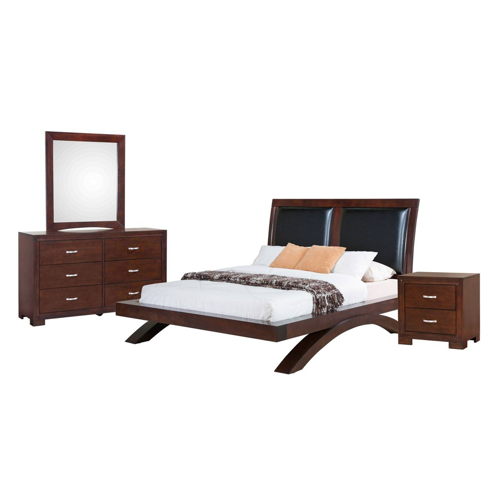 4pc King Zoe Platform with Upholstered Headboard Bedroom Set Espresso Brown - Picket House Furnishings