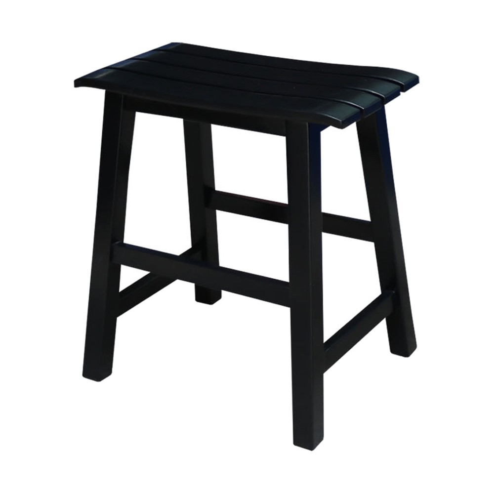 "Image of ""18"""" Slat Seat Stool Black - International Concepts"""
