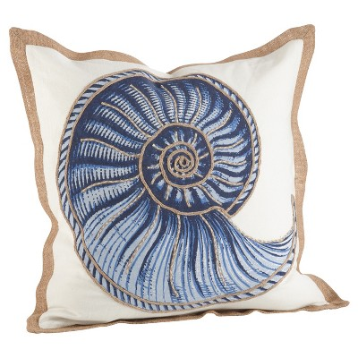 Navy Blue Spiral Shell Print Cotton Throw Pillow (20 )- Saro Lifestyle®