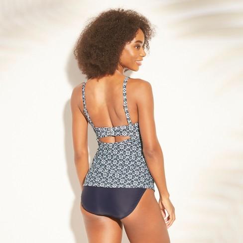 ab7f1c981b3e6 Women s Twist Front Tankini - Kona Sol™ Navy Tile Print 40DDD   Target