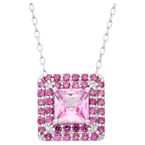 Square-cut Pink Sapphire Accented Pendant in Sterling Silver - image 1 of 1