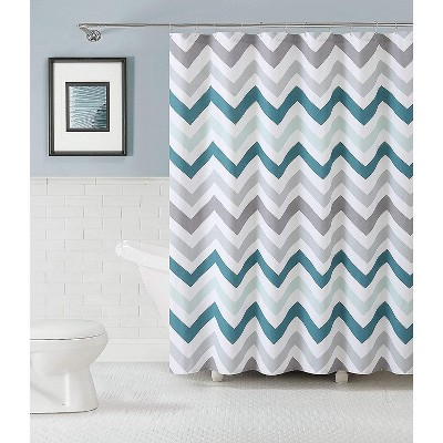 Kate Aurora Living 100% Cotton Chevron Fabric Shower Curtains