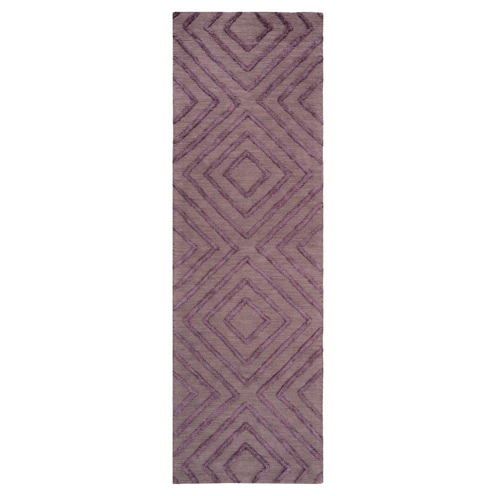 Dark Purple Abstract Hooked Runner - (2'6X8' Runner) - Surya, Brown