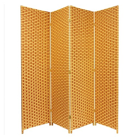 6 ft. Tall Woven Fiber Room Divider Natural/Rust 4 Panel - Oriental Furniture - image 1 of 1