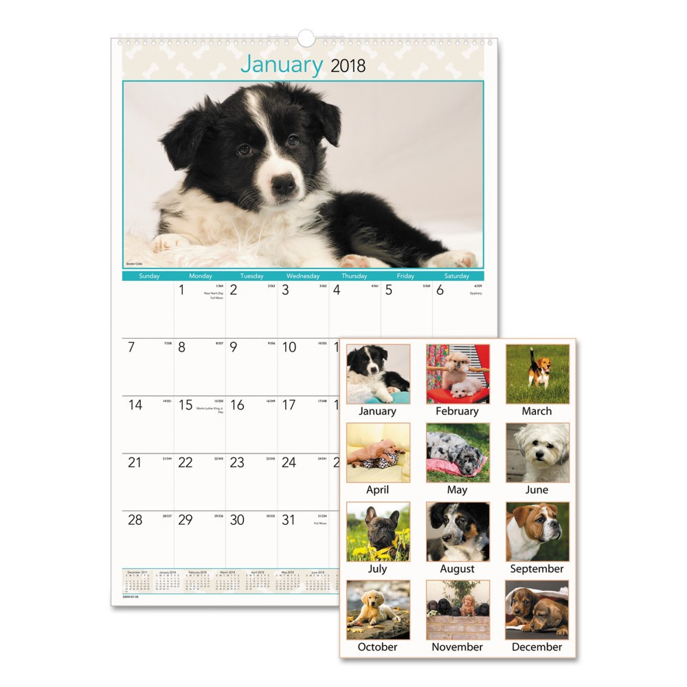2018 Puppies Monthly Wall Calendar 15.5 x 22.75 - AT-A-Glance, White