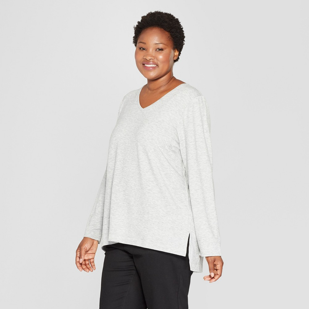 Women's Plus Size Long Sleeve V-Neck T-Shirt - Ava & Viv Light Heather Gray 1X