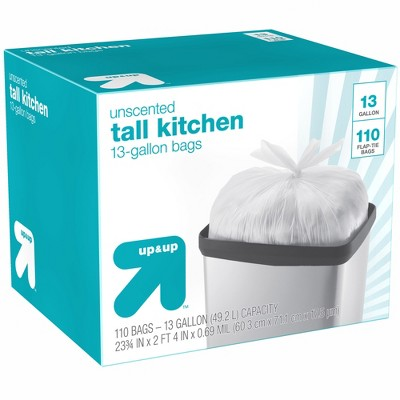 Tall Kitchen Flap-Tie Trash Bags - 13 Gallon - 110ct - up & up™