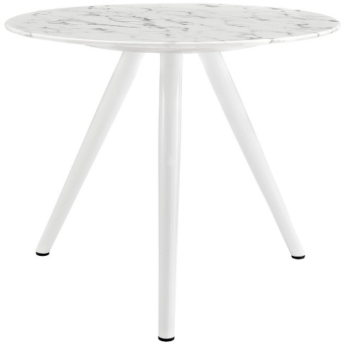 "Lippa 36"" Round Artificial Marble Dining Table with Tripod Base White - Modway - image 1 of 5"