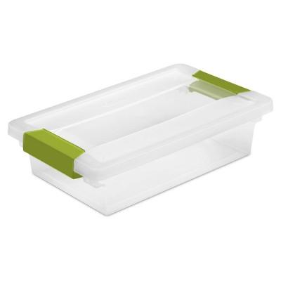 Sterilite® Storage Tote with Clips - Green Small