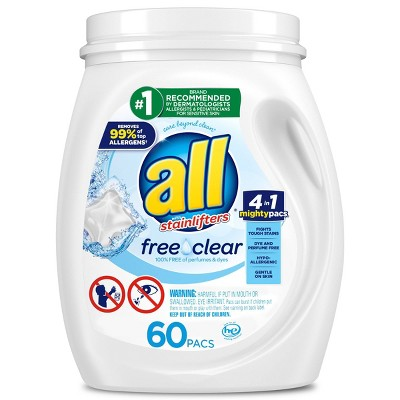 All Mighty Pacs Free Clear Laundry Detergent Pacs - 60ct