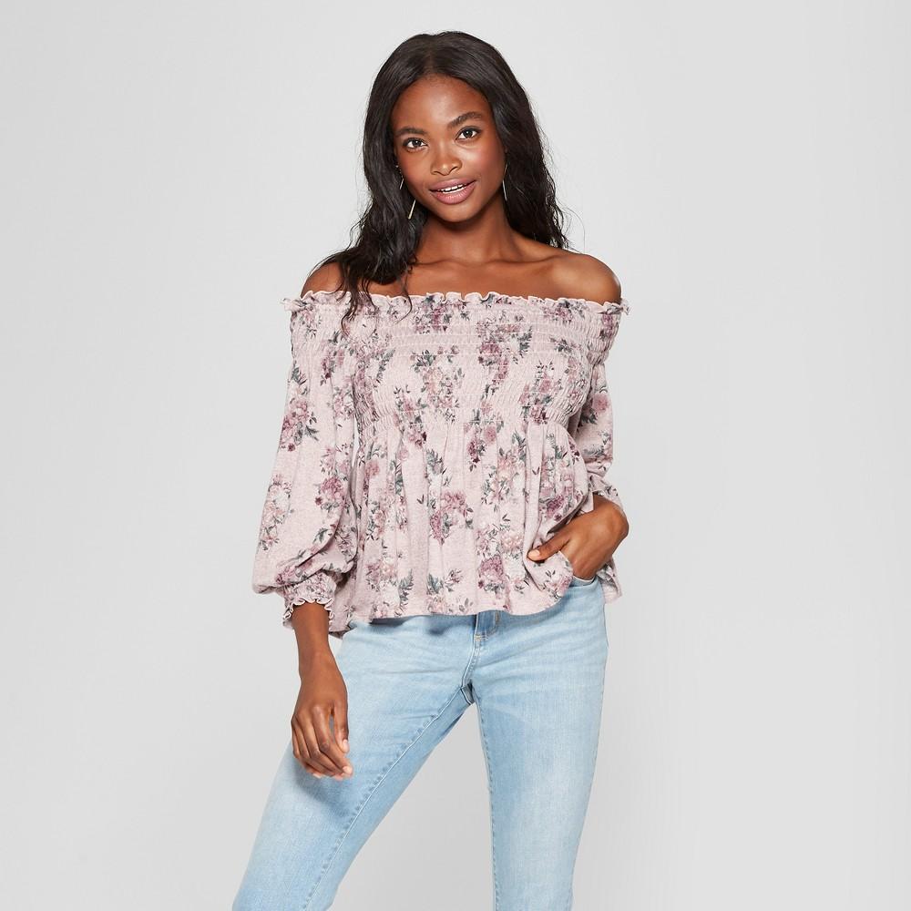 Women's Long Sleeve Floral Knit Off the Shoulder Top - Xhilaration Rose (Pink) Xxl