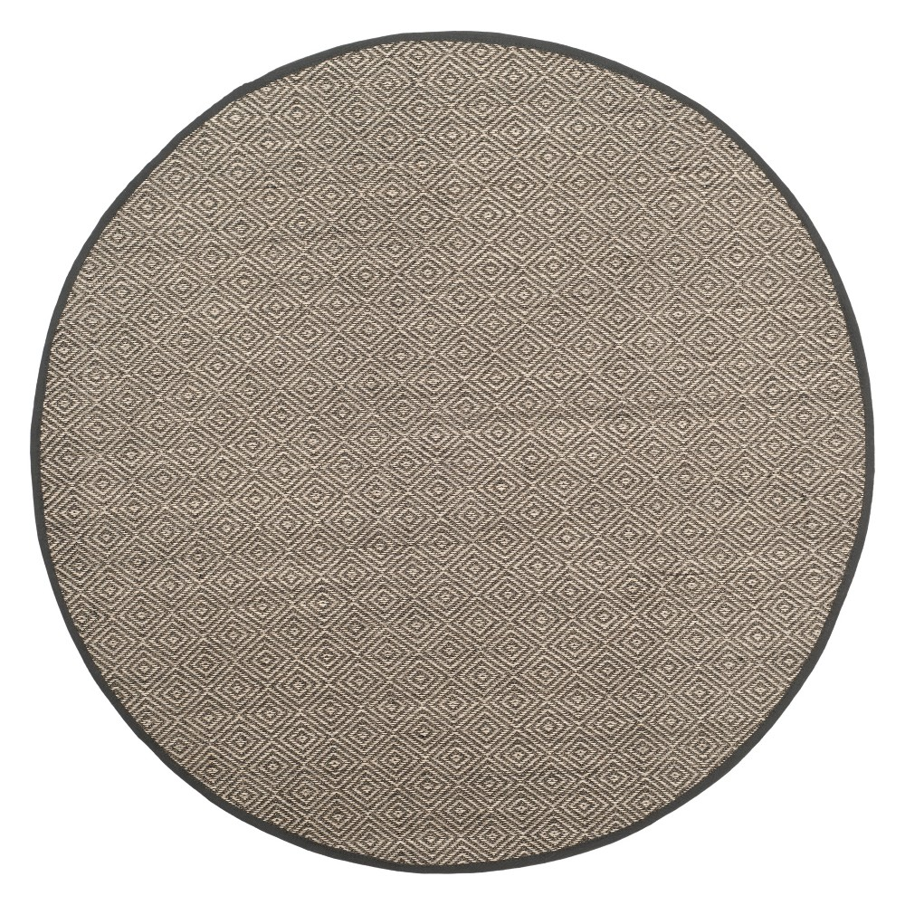 6 Geometric Loomed Round Area Rug Natural/Dark Gray - Safavieh Top