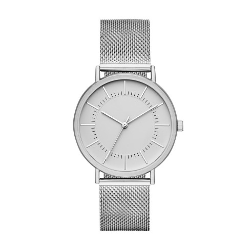 Men's Mesh Strap Watch - Goodfellow & Co™ Silver - image 1 of 1