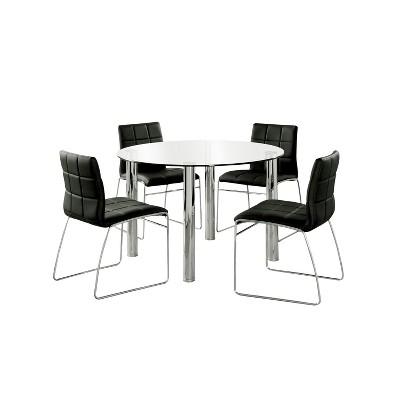 5pc Aneston Glass Top Chrome Leg Round Dining Table Set Chrome/Black - HOMES: Inside + Out
