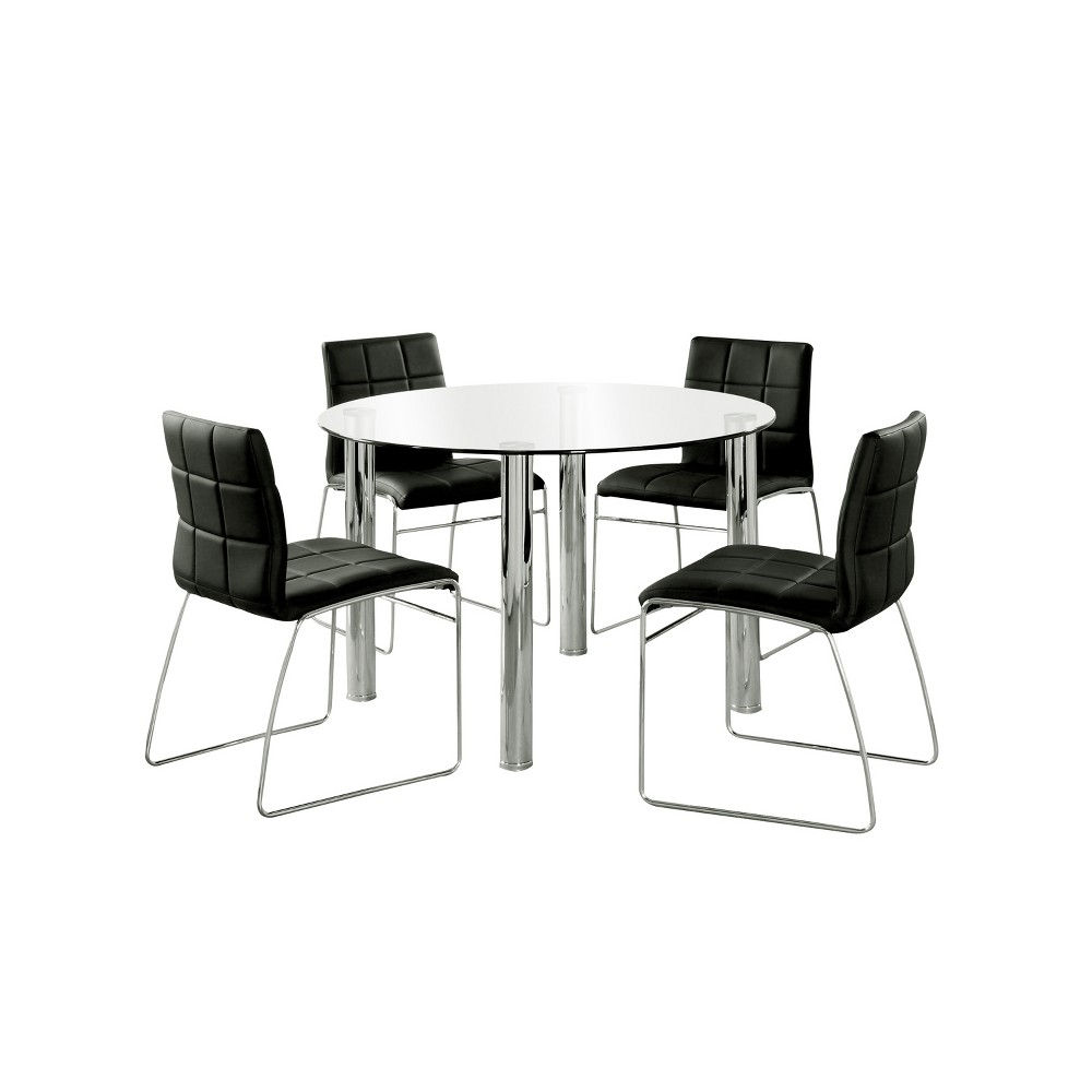 Image of 5pc Aneston Glass Top Chrome Leg Round Dining Table SetChrome/Black - ioHOMES