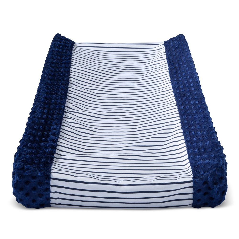 Wipeable Changing Pad Cover With Plush Sides Stripes Cloud Island 8482 Navy