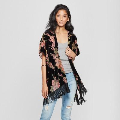 d186bd59ed Women s Floral Print Flutter Short Sleeve Kimono Jacket - Xhilaration™ Black  XS S