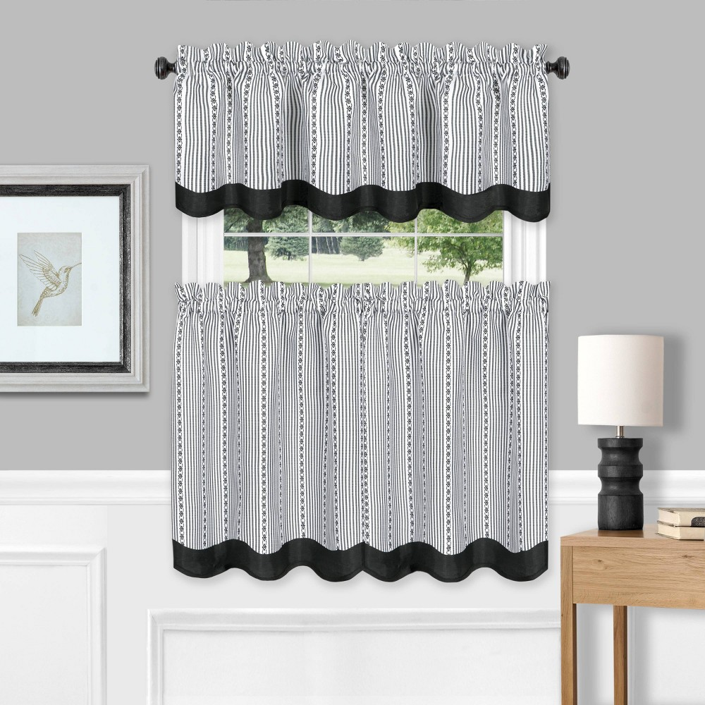 "Image of 24""x58"" Westport Window Curtain Tier Pair and Valance Set Black/White - Achim"