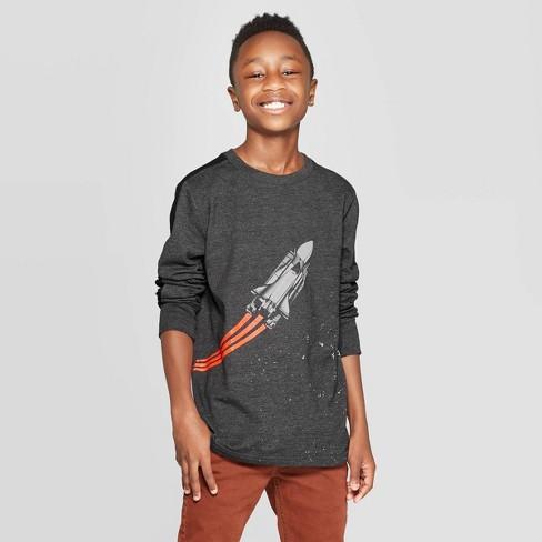 Boys' Long Sleeve T-Shirt - Cat & Jack™ Black - image 1 of 3