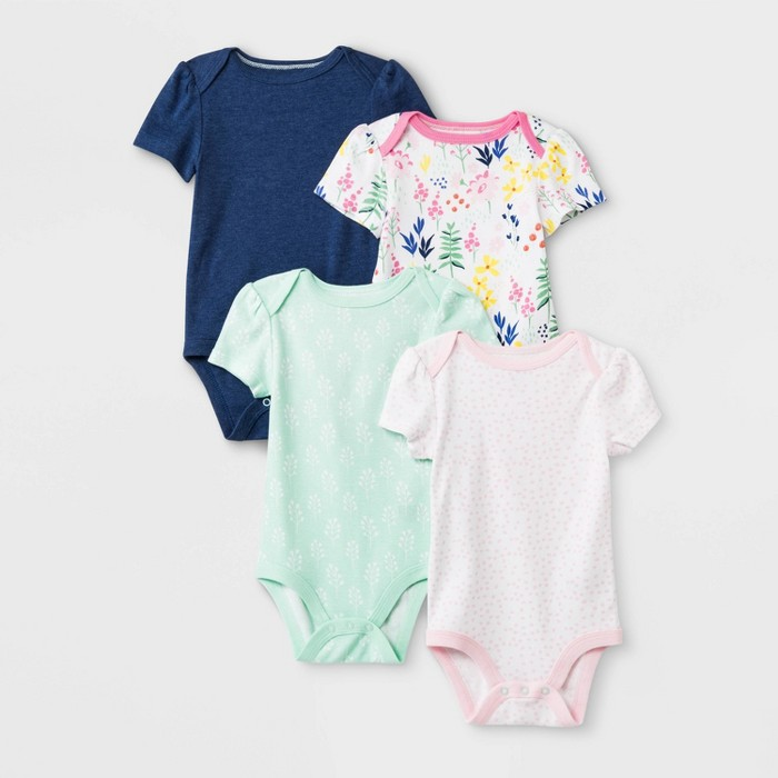Baby Girls' 4pk Short Sleeve Wildflower Bodysuits - Cloud Island™ - image 1 of 1