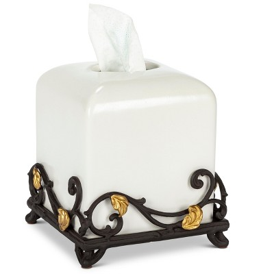GG Collection White Stoneware Tissue Holder with Metal Gold Leaf Base.