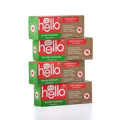 hello Kids ADA Approved Anti-cavity Fluoride Toothpaste SLS Free + Vegan Natural Wild Strawberry - 4.2oz/4pk