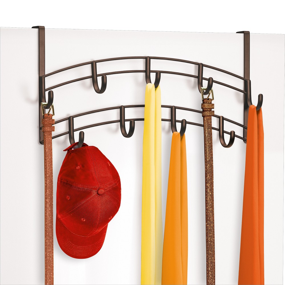 Image of Lynk Over Door Accessory Holder - Scarf, Belt, Hat, Jewelry Hanger - 9 Hook Organizer Rack - Bronze