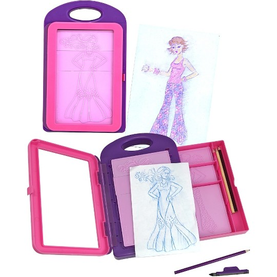 Melissa & Doug Fashion Design Art Activity Kit - 9 Double-Sided Rubbing Plates, 4 Pencils, Crayon image number null