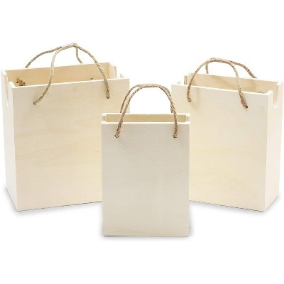3 Pack Unfinished Natural Wooden Hand Bags in 3 Sizes for Party Decorations, Ornament and DIY Craft Projects