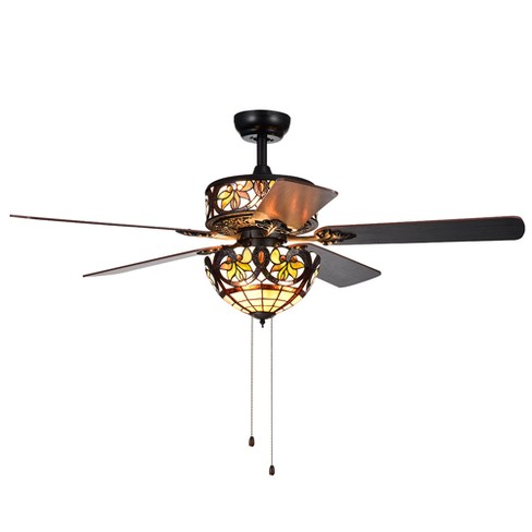 "Jyrku 6 Light Yellow Flower Tiffany 5 Blade Matte Black 52"" Lighted Ceiling Fan - Warehouse of Tiffany - image 1 of 5"