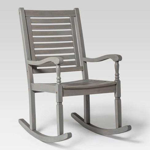 Acacia Wood Patio Rocking Chair Gray