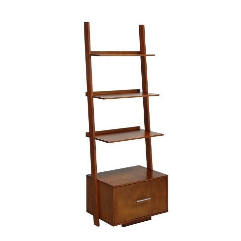 """69"""" Johar American Heritage Ladder Bookcase With File Drawer Cherry Red - Johar Furniture - image 1 of 3"""