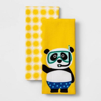 "26"" x 16"" 2pk Cotton Panda Kitchen Towels - Sun Squad™"
