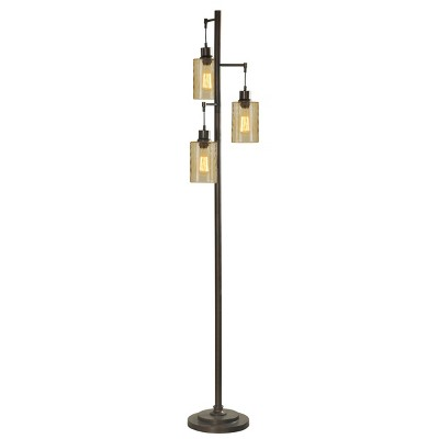 3 Head Bronze Floor Lamp with Dimpled Glass Shades (Lamp Only)- StyleCraft