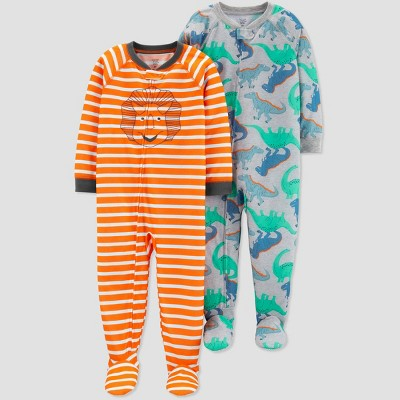 Baby Boys' Orange Stripe Dino Poly Footed Sleepers - Just One You® made by carter's Orange/Gray 18M
