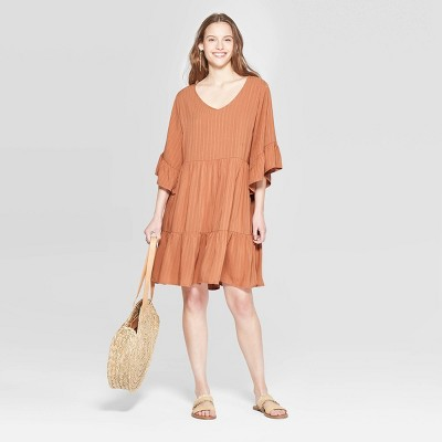 Women's Flutter Short Sleeve V Neck Mini Tiered Baby Doll Dress   Universal Thread Brown by Neck Mini Tiered Baby Doll Dress